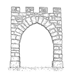 Cartoon of open stone medieval decision gate vector