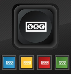 Cash currency icon symbol Set of five colorful vector image