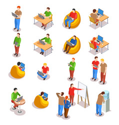 Coworking people icon set vector