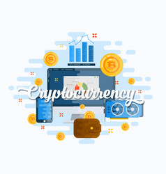 Cryptocurrency abstract flat style modern vector