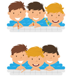 Cute cheerful boys relaxing and drinking vector