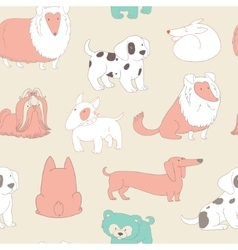 Cute dogs pets seamless pattern background in vector
