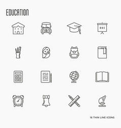 education and learning thin line icons set vector image