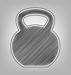 Fitness dumbbell sign pencil sketch vector
