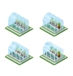 Glass greenhouse isometric set vector