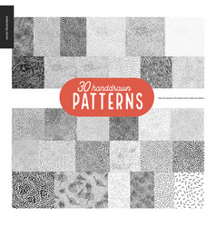 Hand drawn black and white 30 patterns set vector