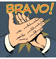 Hands palm applause success text bravo vector