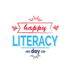 Happy literacy day icon vector