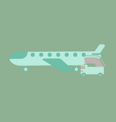 Icon in flat design for airport airplane gangway vector