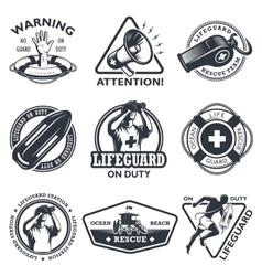 Set of vintage lifeguard emblems vector