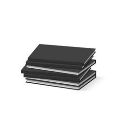Stack of blank black books on white presentation vector