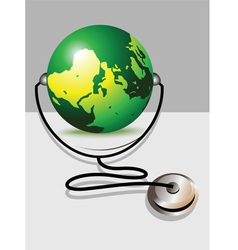 Stethoscope and glob vector image vector image