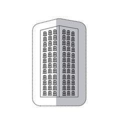 Sticker monochrome contour with apartment building vector