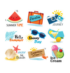 summer label banner tag and elements background vector image vector image