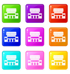 supermarket building icons 9 set vector image vector image