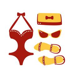 Swimsuit glasses bag sandal women beach vector