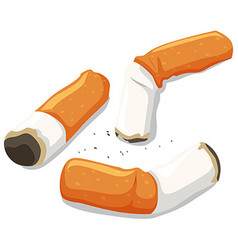 Three pieces of used cigarette vector