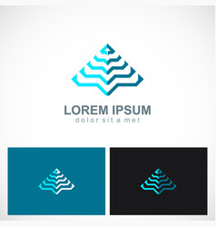triangle pyramid abstract line business logo vector image vector image