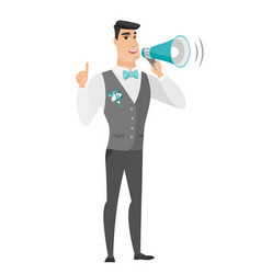 young caucasian groom making announcement vector image