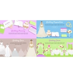 Wedding planning preparation decor dress banner vector