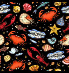 Crab and shell seamless pattern vector