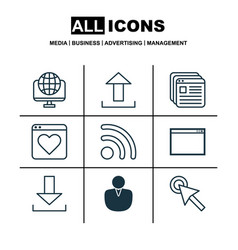 Set of 9 internet icons includes login wifi vector
