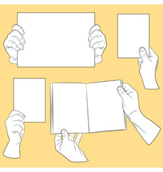 Set of human hands with paper vector