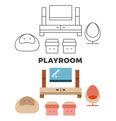 Playroom concept - flat and line style room design vector