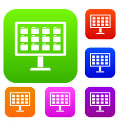Desktop of computer with folders set collection vector