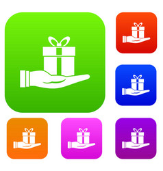 gift box in hand set collection vector image