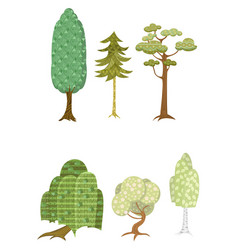251 set of six trees vector