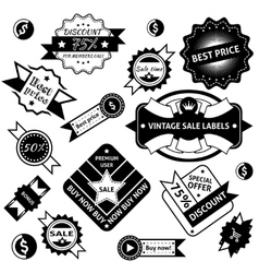Sale labels black vector