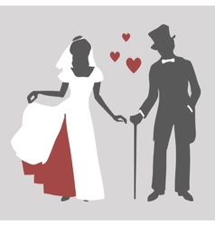 Bride and groom in retro style vector image