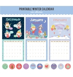 Cute calendar diary 2016 with seasonal themes vector
