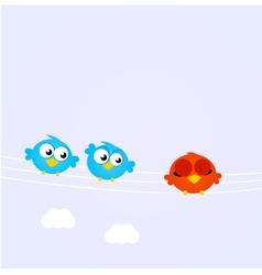 birds on a line vector image