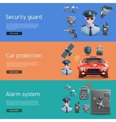 Security horizontal banners set vector