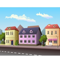 Small city street with road vector