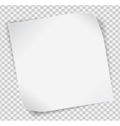 White paper sticker over transparent background vector