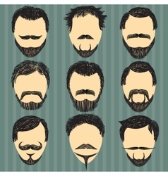 Hair mustache and beard Retro hipsters vector image