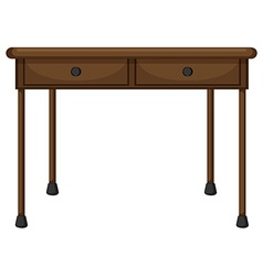 Wooden table with drawers vector
