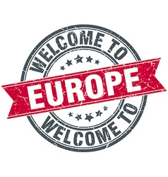 Welcome to europe red round vintage stamp vector