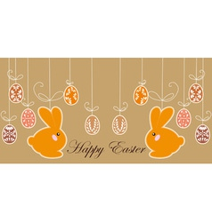 Antique postcard with easter rabbits vector