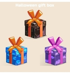 Colors halloween gift box vector