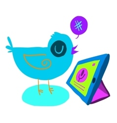 Cartoon bird tweet with tablet flat icon vector