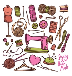 Accessories And Equipment For Sewing vector image