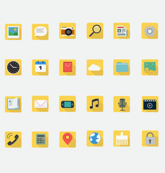 application icons flat design in smart phone vector image vector image