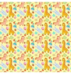 Baby toys seamless pattern animal vector