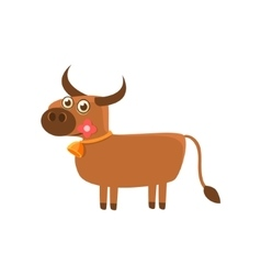 Bull with the flower and a bell vector