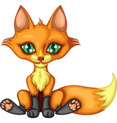 Cute little red fox vector