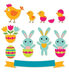 Easter stickers set vector